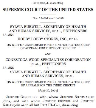 Burwell v. Hobby Lobby Ginsberg%27s Dissent